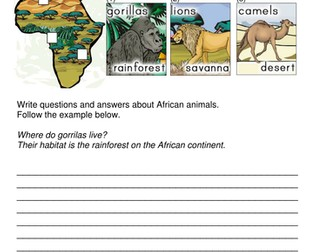 African animal habitats - Science Year 2 Key Stage 1 differentiated