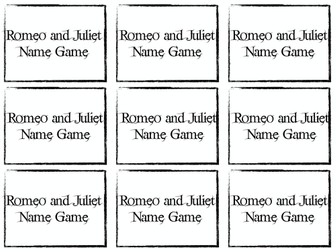 Romeo and Juliet Name Cards