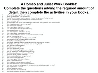 Romeo and Juliet Work Booklet