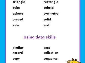 Reception mathematical vocabulary cards