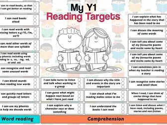 Child Friendly Pupil Reading Target Sheet Year 1