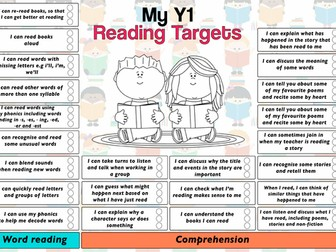 Child Friendly Pupil Reading Target Sheet Year 1