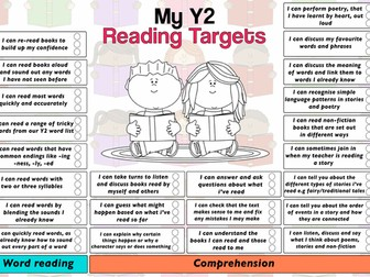 Child Friendly Pupil Reading Target Sheet Year 2