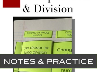 Decimals: Multiplication and Division Notes and Practice for Interactive Notebooks