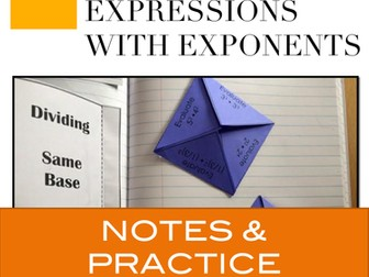 Exponents - Multiplying and Dividing Exponents Interactive Notebook