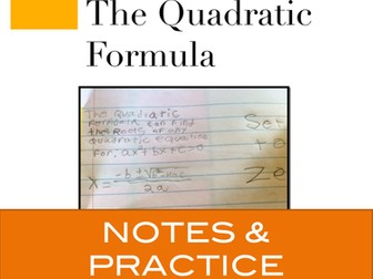 Quadratics: Quadratic Formula Notes and Practice for Interactive Notebooks
