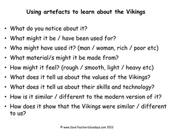 Viking Artefacts KS2 Lesson Plan and Worksheet