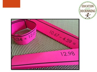 Decimal - Addition, subtraction, multiplication and division Paper Chain Activity