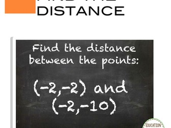 Cartesian Coordinates - the Distance between 2 points Task Card activity
