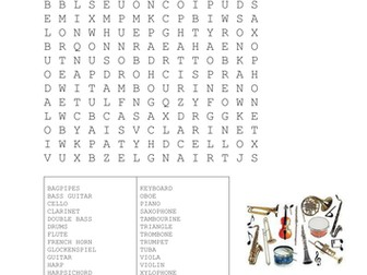 Musical Instruments Wordsearch