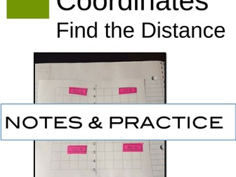 Cartesian Coordinates Interactive Notebook Pages for Finding the Distance