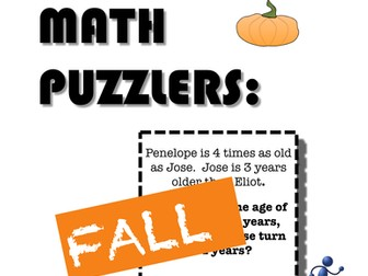 Fall or Autumn Problem Solving Puzzles for Middle School Math
