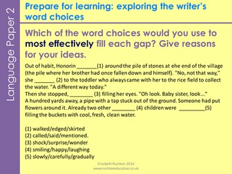 AQA new GCSE specification Language Paper 2 Question 3 lesson: poverty theme.