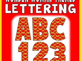 WONDER WOMAN THEMED LETTERS & NUMBERS - TEACHING RESOURCES DISPLAY ALPHABET SUPERHEROES