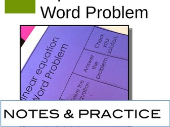 Write an equation from a word problem Interactive Notebook Pages