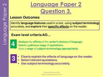 AQA new specication GCSE English Language Paper 2 Question 3  practice lesson