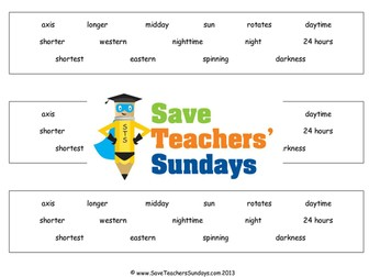 Day and Night  KS2 Lesson Plan and Worksheet