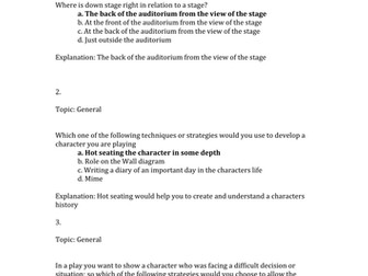 GCSE Drama Multiple choice questions