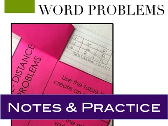 Rate of Travel Word Problems Interactive Notebook Foldable and Problems