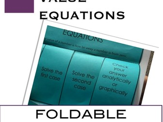 Solve Absolute Value equations Interactive Notebook Foldable