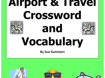 Spanish Airport / Travel Crossword and Word List - Substitute Lesson