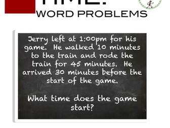 Word Problem - Elapsed Time Word Problems Task Card Activity