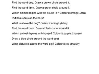 Animal listening (instructions) activity
