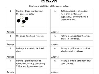 Data QR Code Homework Sheets - Bundle 1