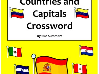 Spanish Speaking Countries and Capitals Crossword and Flag IDs