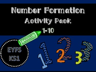 Number Formation 1-10 Activity Pack for EYFS/KS1