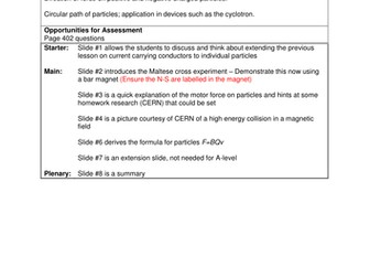 Physics A-Level Year 2 Lesson - Moving charges in a magnetic field (PowerPoint AND plan)