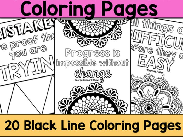 Growth Mindset Coloring Pages By Katembee   Teaching Resources   Tes
