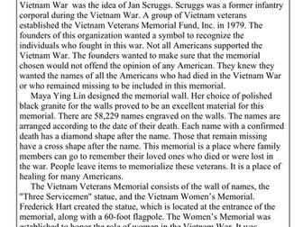 Vietnam Memorial Reading Comprehension Sheet for Veteran's Day