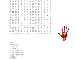 Characters of Macbeth Wordsearch