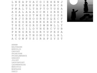 Characters of Romeo and Juliet Wordsearch