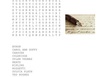 British Poets Wordsearch