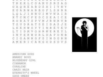 Neil Gaiman Books Wordsearch