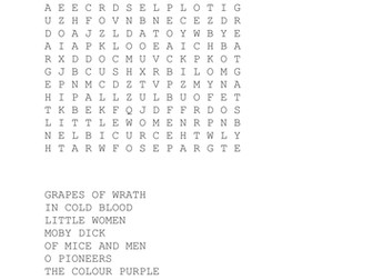 Classic American Novels Wordsearch