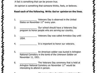 Veterans Day Fact and Opinion Sheet