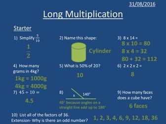 Year 7 / Year 8 KS3 Lessons Multiplication, Short Division, Long Division, BIDMAS