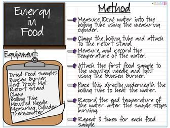 Energy in Food Practical and Worksheet