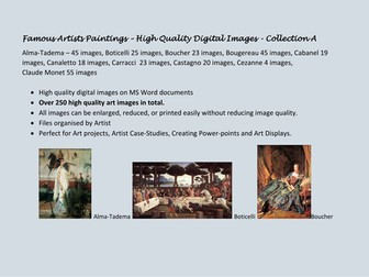 Famous Artists High Quality Digital Collection A - Monet, Cezanne, Carracci...over 250 images!
