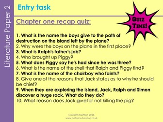 Lord of the Flies new GCSE English Literature AQA. Lesson5/Chpt2:Jack& Ralph's changing friendship