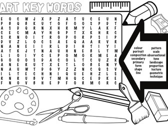 Art and Design Key words - Wordsearch and Colouring sheet