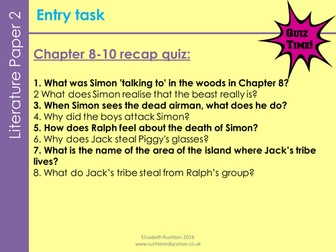 Lord of the Flies new GCSE English Literature AQA. Lesson9-10/Chpt10: Piggy's death assessment