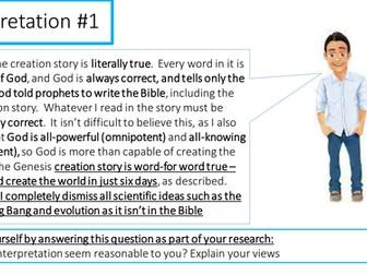 AQA new RE GCSE - Christian beliefs - How Christians interpret the creation story UPDATED