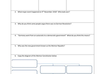 The Origins of the Weimar Republic 1918-19 - Flipped Learning worksheet with link to video