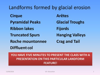Landforms formed by glacial erosion