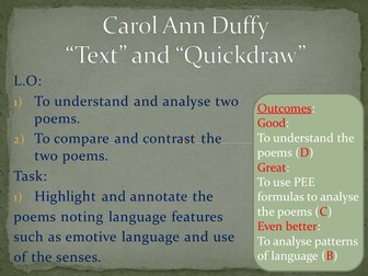 Poetry analysis: 'Text' and 'Quickdraw' by Carol Ann Duffy