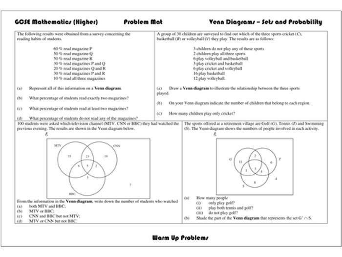 Venn diagram probability ks3 tes diy enthusiasts wiring diagrams venn diagram probability tes product wiring diagrams u2022 rh wiringdiagramapp today statistics venn diagram sets and venn diagrams problems ccuart Images